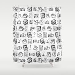 Vintage Camera Pattern Shower Curtain