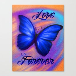 Love Forever Blue Butterfly Canvas Print