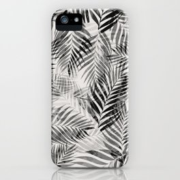 Palm Leaves - Black & White iPhone Case