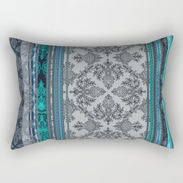 Teal, Aqua & Grey Vintage Bohemian Wallpaper Stripes Rectangular Pillow