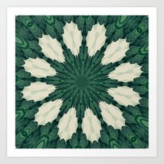 Tropical Sacramento Green and Silver Leaf Mandala Art Print