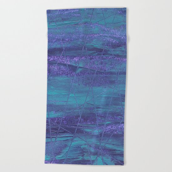 Random Rain Lines On The Sea Beach Towel