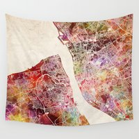 liverpool Wall Tapestries featuring Liverpool by MapMapMaps.Watercolors