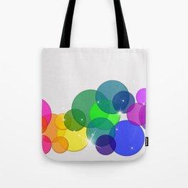 Translucent Rainbow Colored Circles Digital Illustration - Multi Colored Artwork Tote Bag