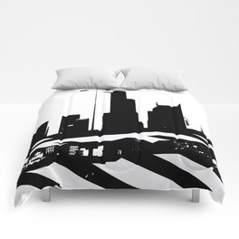 City Scape in Black and White Comforters