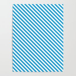 Oktoberfest Bavarian Blue and White Small Candy Cane Stripes Poster