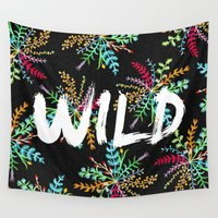 into the wild Wall Tapestries featuring Wild by Camila Escat
