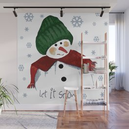 Let's build a snowman, let it snow Wall Mural