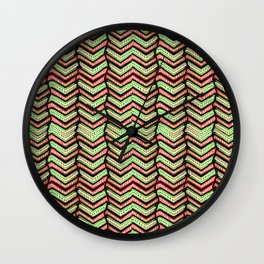 Zig Zag Multicolored Ethnic Pattern Wall Clock