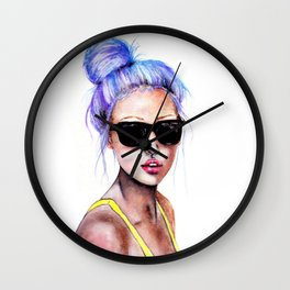 Little Blue Bun Wall Clock