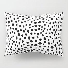 Modern Black and White Hand Drawn Polka Dots Pillow Sham