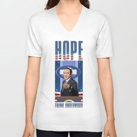 frank underwood V-neck T-shirts featuring House of Cards: Frank Underwood USA President by Akyanyme