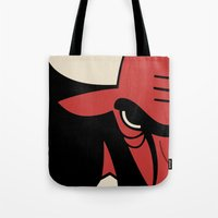chicago bulls Tote Bags featuring Bulls by racPOP