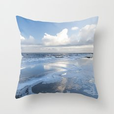 Cold day at the beach - Ocean blue on #Society6 Throw Pillow