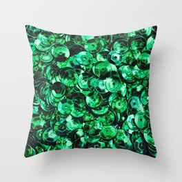 Green Scattered Sequins Throw Pillow