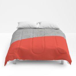 Concrete and Cherry Tomato Color Comforters