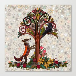 fox and crow Canvas Print