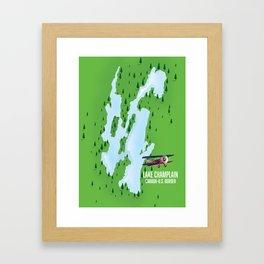 Lake Champlain US Canada travel poster Framed Art Print