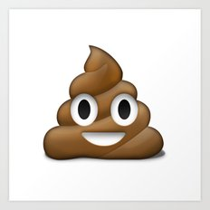 Smiling Poo Emoji (White Background) Art Print
