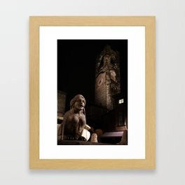 The fountain in Piazza Vecchia, the Sphinx of the Contarini fountain in the background the Civic Tow Framed Art Print
