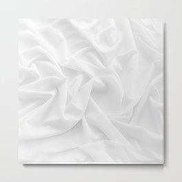 MINIMAL WHITE DRAPED TEXTILE Metal Print