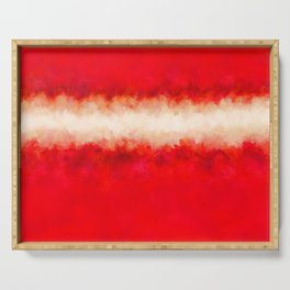 Bright Ruby Red & Cream Abstract Serving Tray