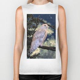 Snowy Owl Bird Stormy Sky A127 Biker Tank