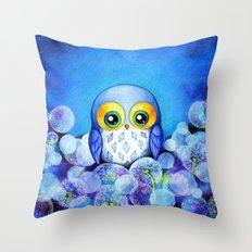 Lunar Owl in Dandelion Field Throw Pillow