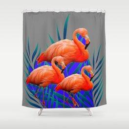 Decorative Tropical  Florida Flamingos Blue-Grey Patterns Shower Curtain