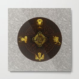 Ilvermorny Knot with House Shields Metal Print