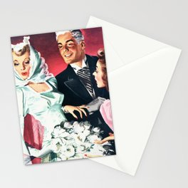 Vintage Illustration Wedding of Bride and Groom Stationery Cards