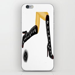 Black Boots, White Legs Running, White Background by Mgyver C3 iPhone Skin