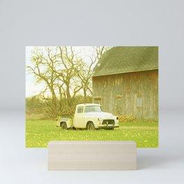 That Ol' Yella Truck By The Barn Mini Art Print