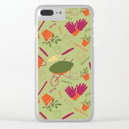 A Day in the Garden - Green Clear iPhone Case