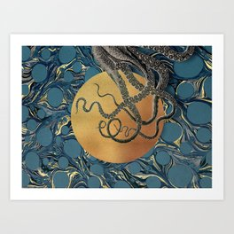 Gold Marble Octopus Art Print