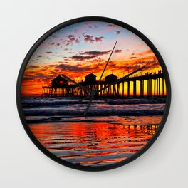Huntington Beach Sunset    12/1/13 Wall Clock