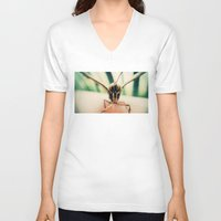 moth V-neck T-shirts featuring moth by Sookie Endo
