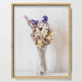 Dried flower in glass vase Serving Tray