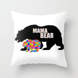 Mama Bear Autism Awareness Support Throw Pillow