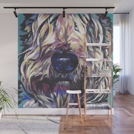 Wheaten Terrier Fun Dog Portrait bright colorful Pop Art Painting by LEA Wall Mural
