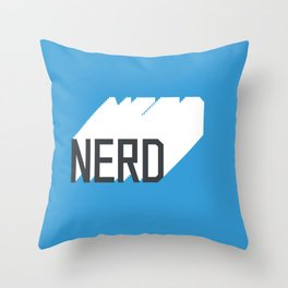 Retro Nerd Blue Throw Pillow
