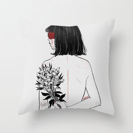 When her petals fall, they hit like bullets. Throw Pillow
