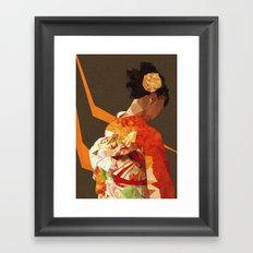 Polygonal kimono girl Framed Art Print