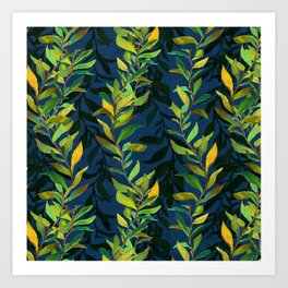 Blue and Green Seaweed Pattern Art Print