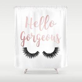 Hello Gorgeous, Lashes, Lash, eyelash, eyelashes, Rose gold, Pink, Watercolor Shower Curtain