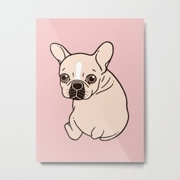 Cute cream Frenchie needs some love Metal Print