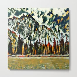 Scenic Mountain Abstract Metal Print