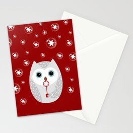 Christmas owl on red Stationery Cards