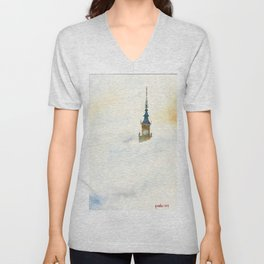 Palace of Culture in clouds Warsaw Unisex V-Neck