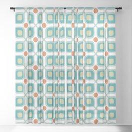 Abstract Flower Pattern Mid Century Modern Retro Turquoise Orange Sheer Curtain